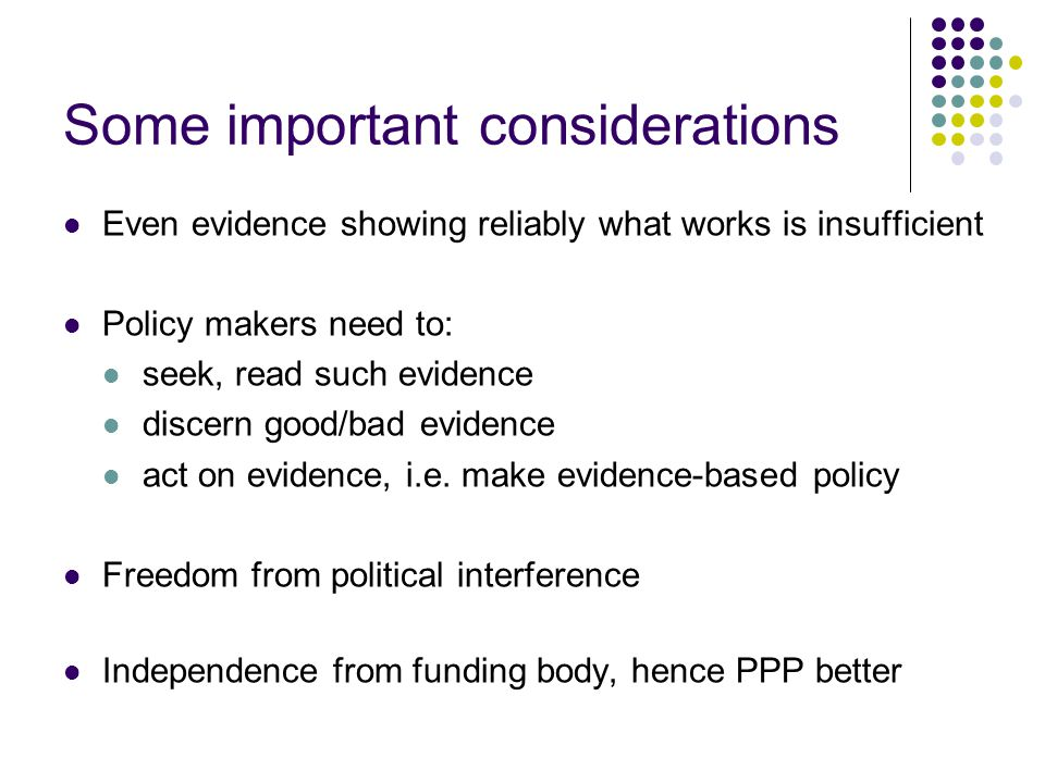 Approaches to evidence based policy making in education