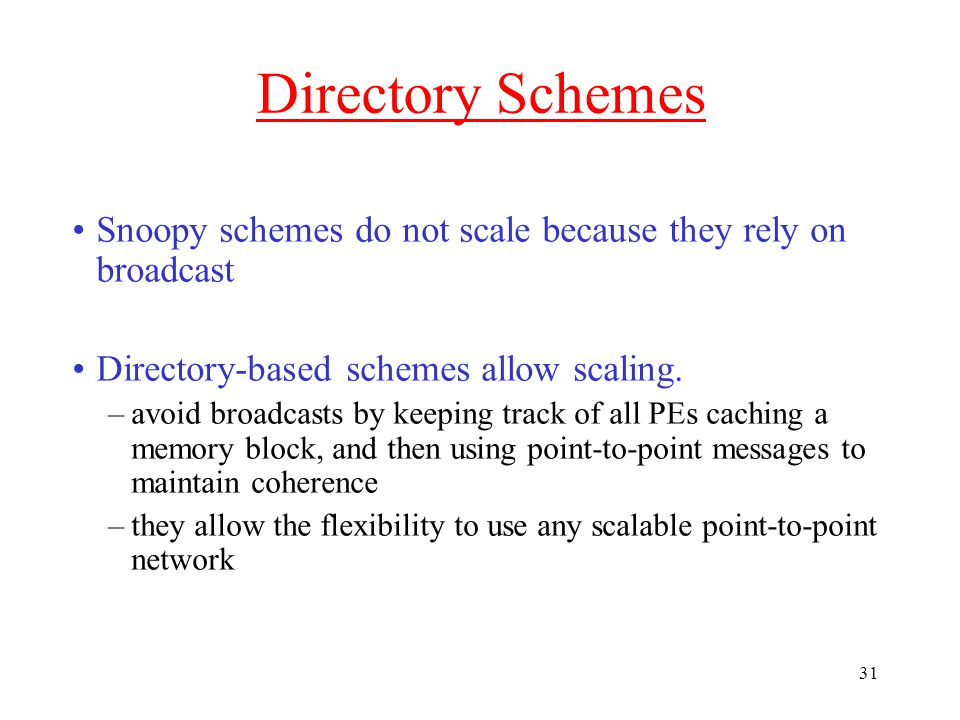 31 Directory Schemes Snoopy schemes do not scale because they rely on broadcast Directory-based schemes allow scaling.
