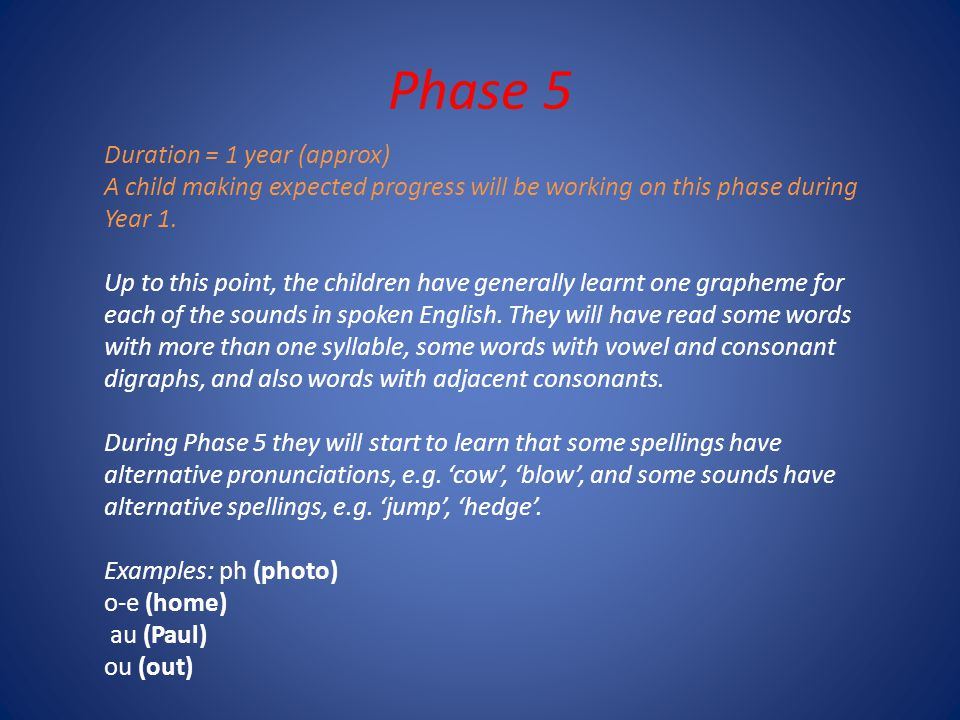 Phase 5 Duration = 1 year (approx) A child making expected progress will be working on this phase during Year 1.