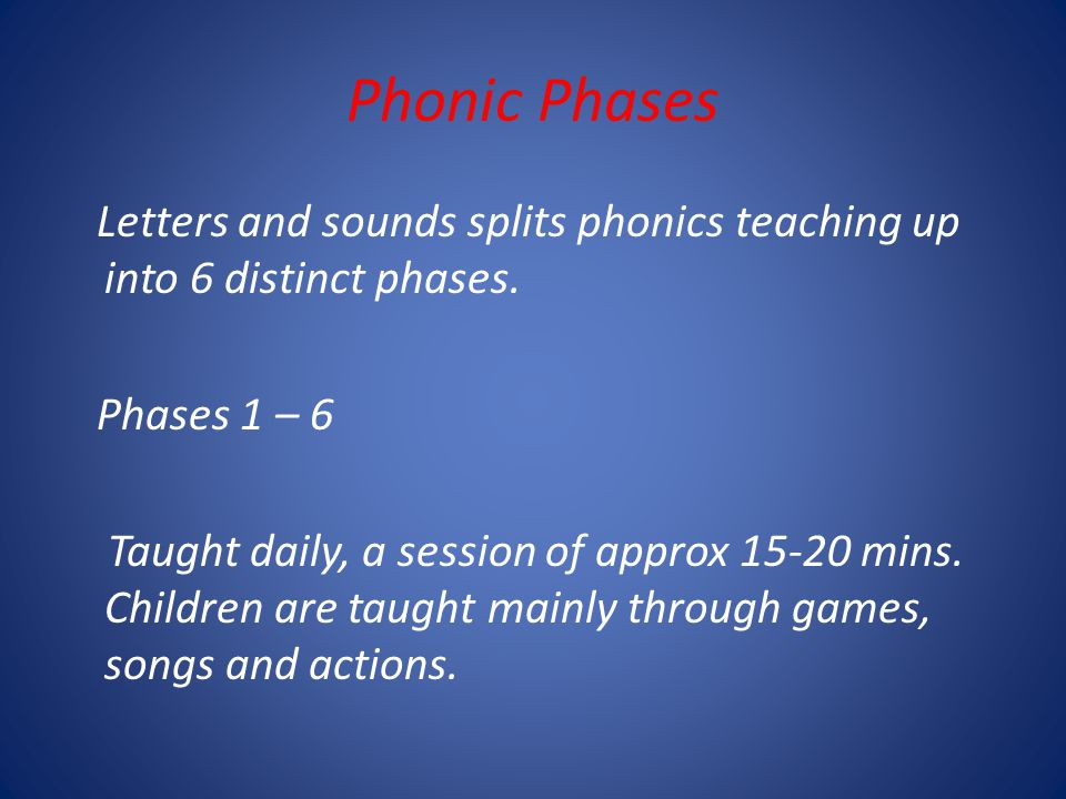 Phonic Phases Letters and sounds splits phonics teaching up into 6 distinct phases.