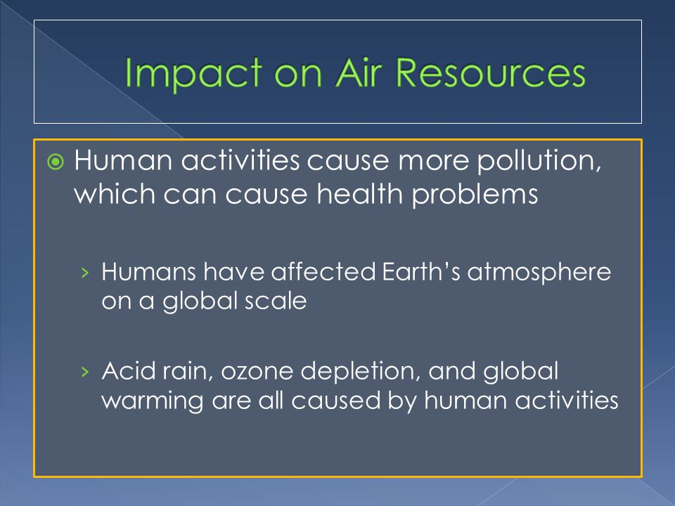  Human activities cause more pollution, which can cause health problems › Humans have affected Earth's atmosphere on a global scale › Acid rain, ozone depletion, and global warming are all caused by human activities