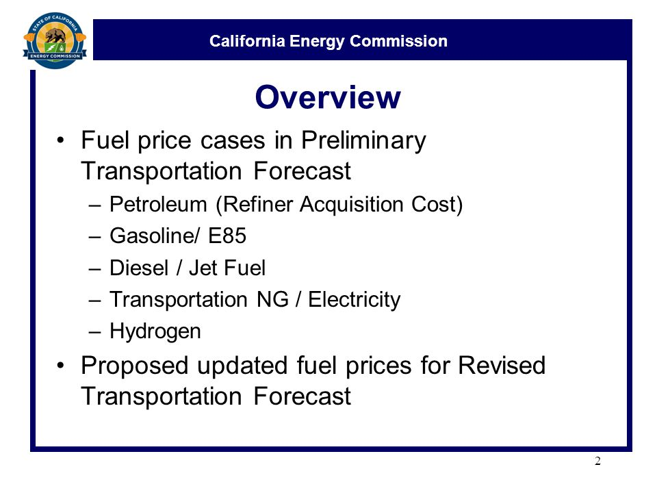 California Energy Commission Crude Oil and Transportation