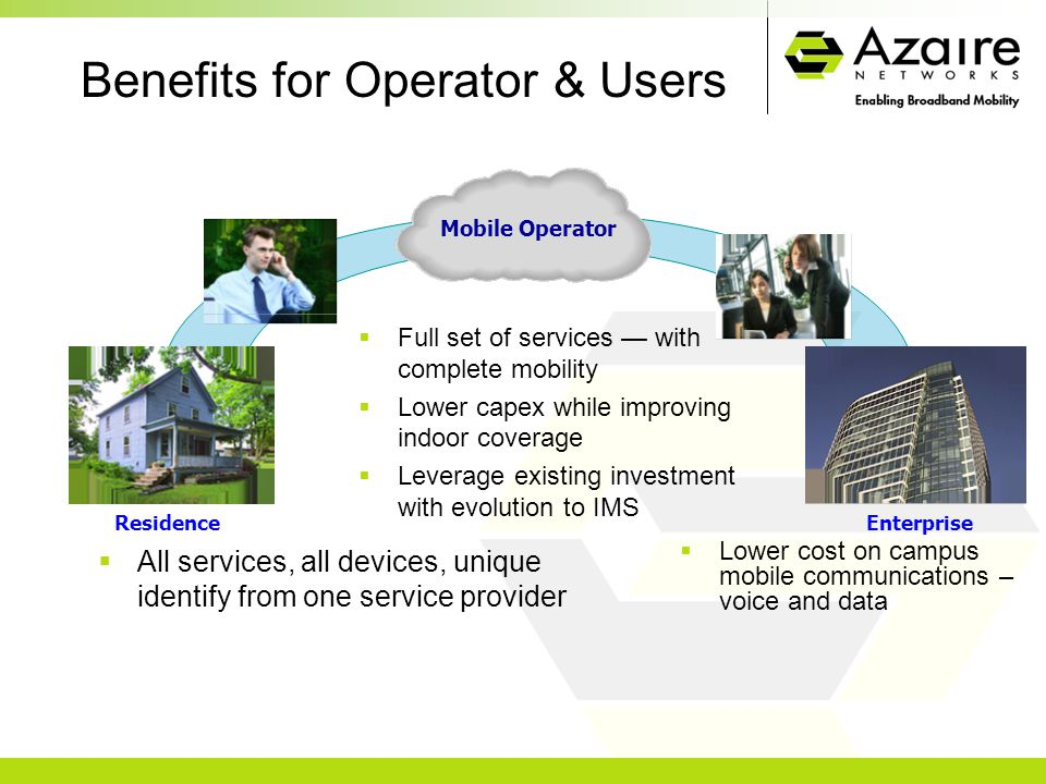 Benefits for Operator & Users  All services, all devices, unique identify from one service provider  Lower cost on campus mobile communications – voice and data  Full set of services — with complete mobility  Lower capex while improving indoor coverage  Leverage existing investment with evolution to IMS Enterprise Mobile Operator Residence Mobile Operator