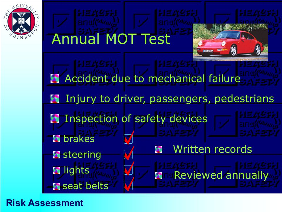 Annual MOT Test Accident due to mechanical failure Injury to driver, passengers, pedestrians Inspection of safety devices brakes steering lights seat belts Written records Reviewed annually Risk Assessment