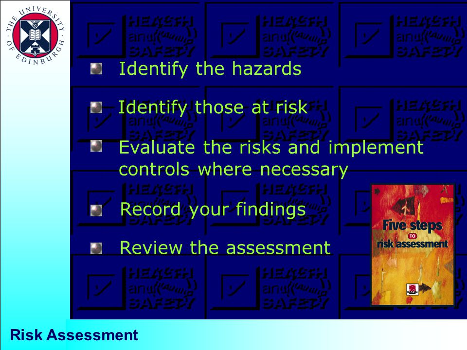 Identify those at risk Identify the hazards Evaluate the risks and implement controls where necessary Record your findings Review the assessment Risk Assessment
