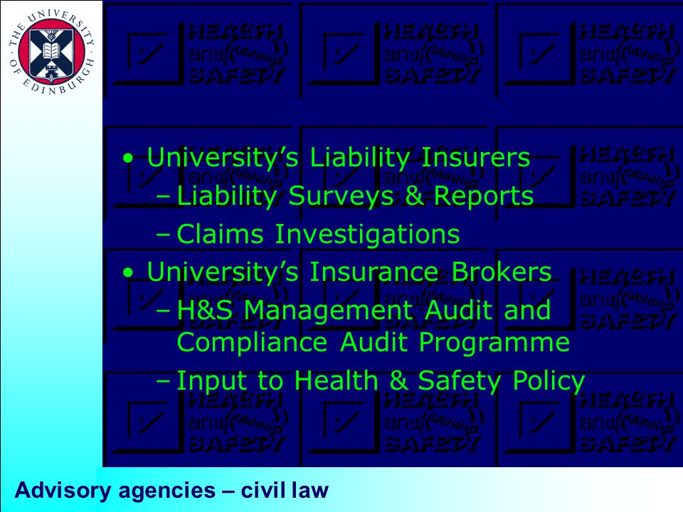 Advisory agencies – civil law University's Liability Insurers –Liability Surveys & Reports –Claims Investigations University's Insurance Brokers –H&S Management Audit and Compliance Audit Programme –Input to Health & Safety Policy