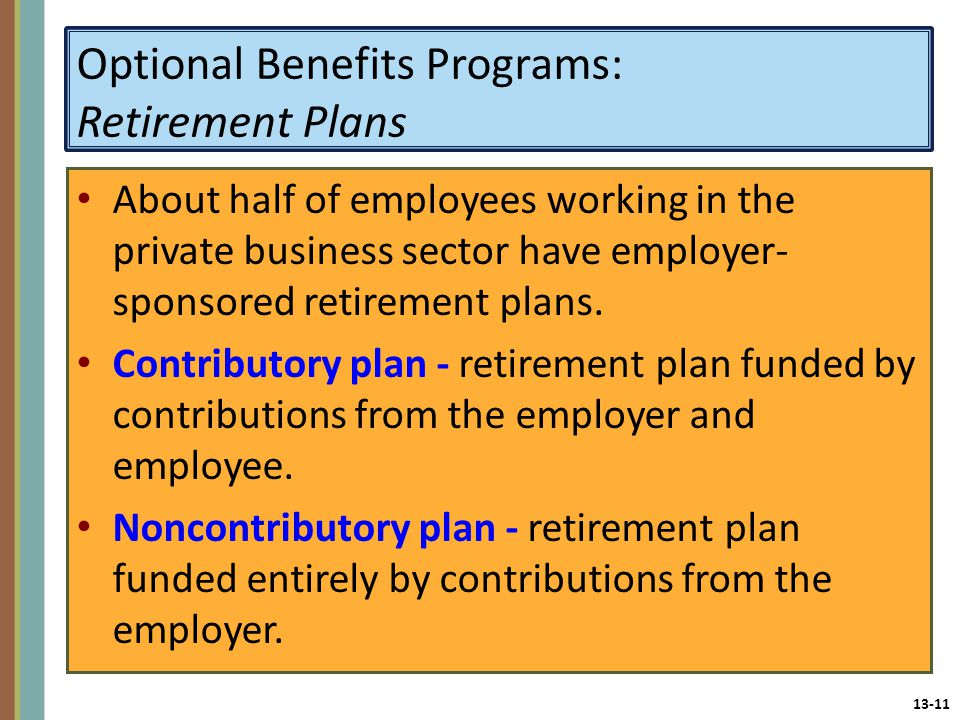 13-11 Optional Benefits Programs: Retirement Plans About half of employees working in the private business sector have employer- sponsored retirement plans.