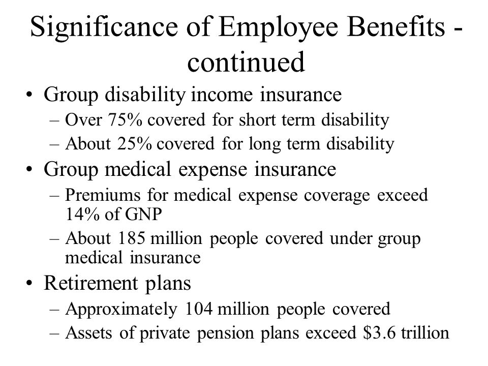 Significance of Employee Benefits - continued Group disability income insurance –Over 75% covered for short term disability –About 25% covered for long term disability Group medical expense insurance –Premiums for medical expense coverage exceed 14% of GNP –About 185 million people covered under group medical insurance Retirement plans –Approximately 104 million people covered –Assets of private pension plans exceed $3.6 trillion