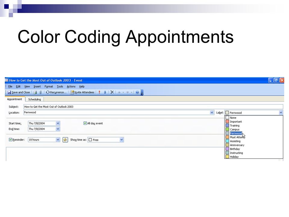 Color Coding Appointments
