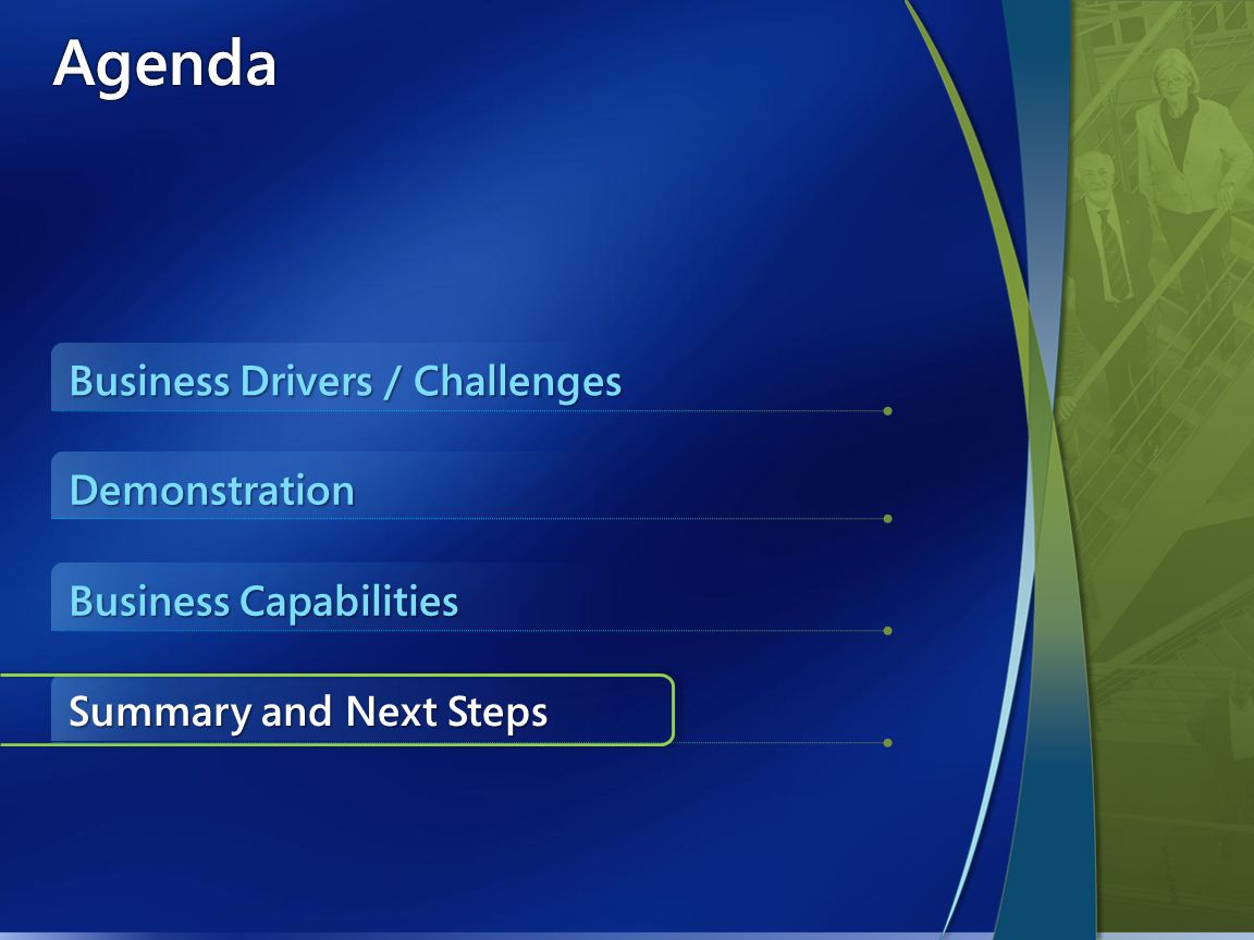 AgendaAgenda Business Drivers / Challenges Business Capabilities Summary and Next Steps Demonstration