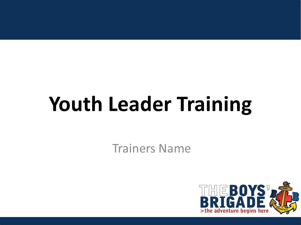 Youth Leader Training Trainers Name