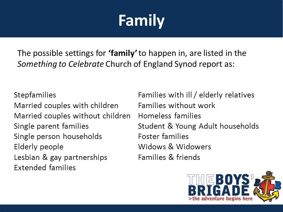 The possible settings for 'family' to happen in, are listed in the Something to Celebrate Church of England Synod report as: Stepfamilies Married couples with children Married couples without children Single parent families Single person households Elderly people Lesbian & gay partnerships Extended families Families with ill / elderly relatives Families without work Homeless families Student & Young Adult households Foster families Widows & Widowers Families & friends Family