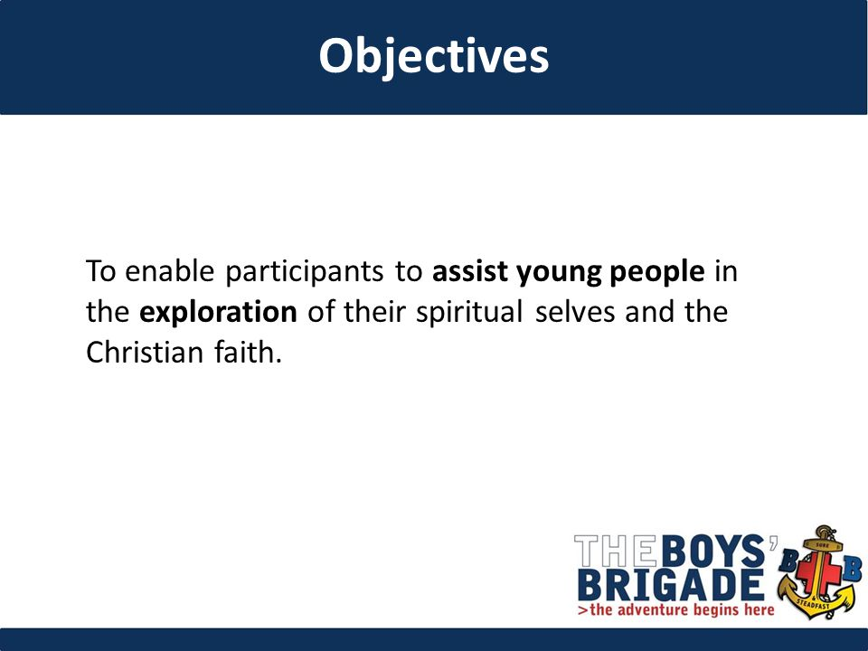 To enable participants to assist young people in the exploration of their spiritual selves and the Christian faith.