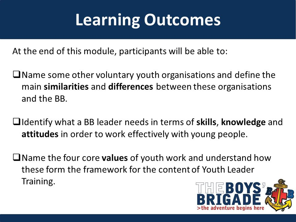 At the end of this module, participants will be able to:  Name some other voluntary youth organisations and define the main similarities and differences between these organisations and the BB.