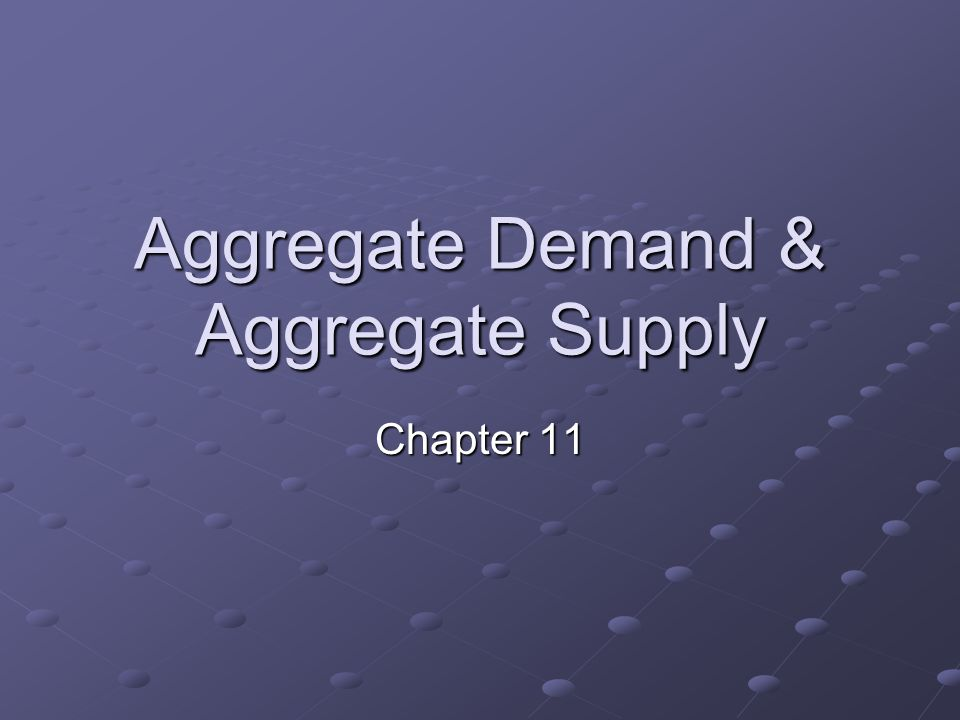 Aggregate Demand & Aggregate Supply Chapter 11