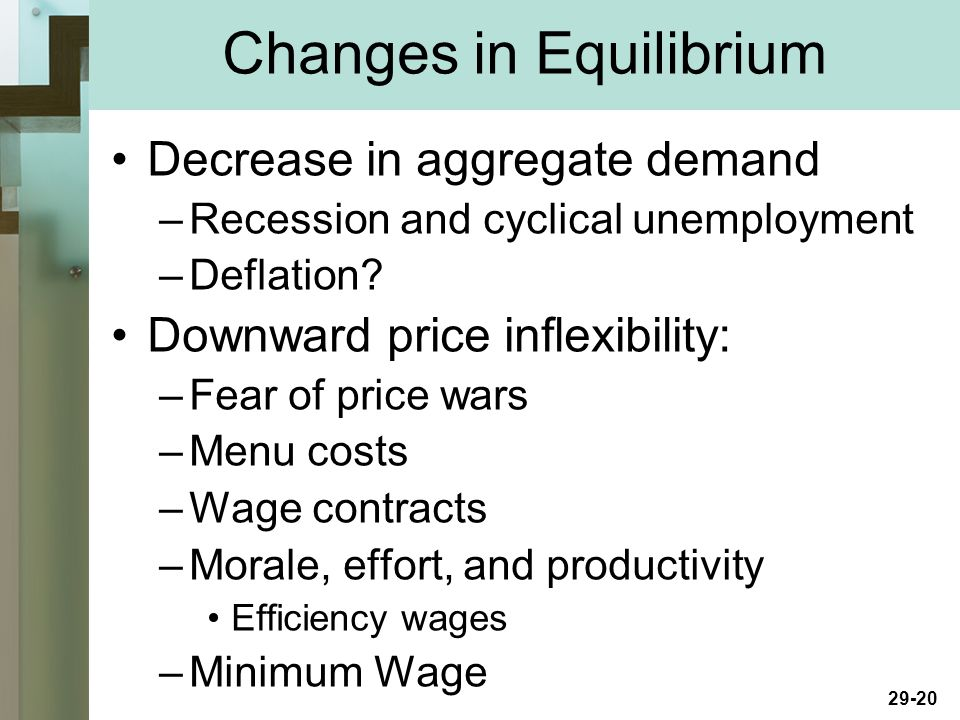 29-20 Decrease in aggregate demand –Recession and cyclical unemployment –Deflation.