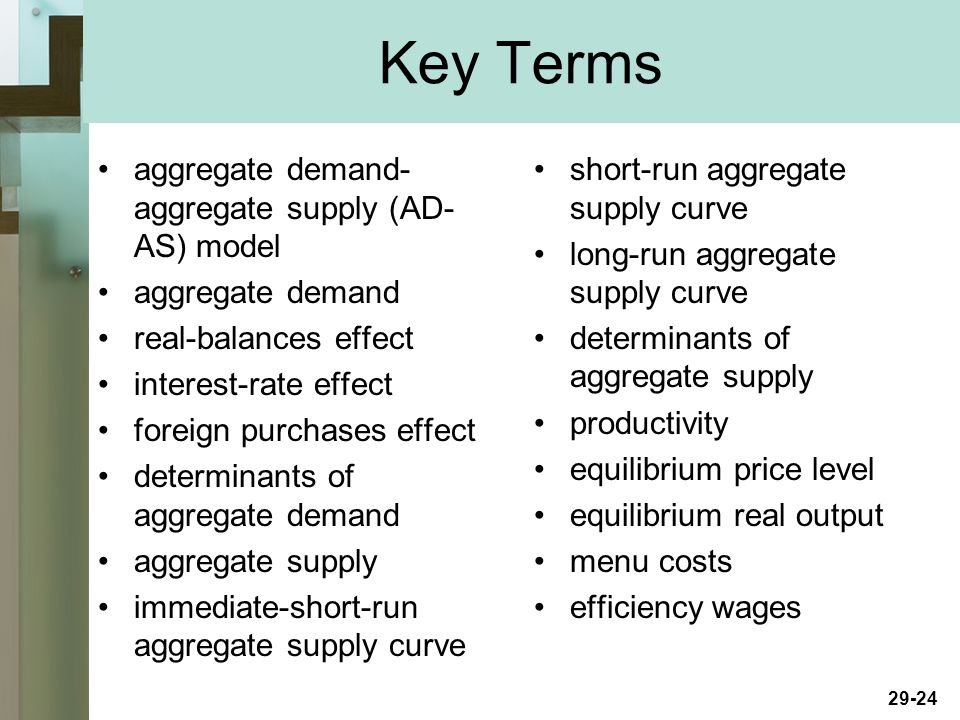 29-24 Key Terms aggregate demand- aggregate supply (AD- AS) model aggregate demand real-balances effect interest-rate effect foreign purchases effect determinants of aggregate demand aggregate supply immediate-short-run aggregate supply curve short-run aggregate supply curve long-run aggregate supply curve determinants of aggregate supply productivity equilibrium price level equilibrium real output menu costs efficiency wages