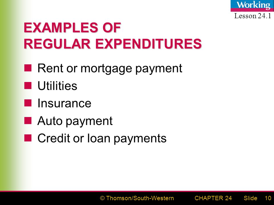 © Thomson/South-WesternSlideCHAPTER 2410 EXAMPLES OF REGULAR EXPENDITURES Rent or mortgage payment Utilities Insurance Auto payment Credit or loan payments Lesson 24.1