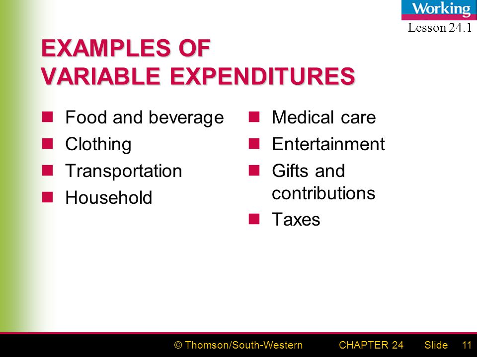 © Thomson/South-WesternSlideCHAPTER 2411 EXAMPLES OF VARIABLE EXPENDITURES Food and beverage Clothing Transportation Household Medical care Entertainment Gifts and contributions Taxes Lesson 24.1