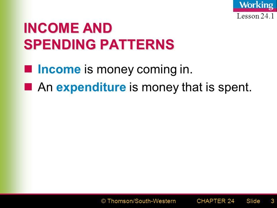 © Thomson/South-WesternSlideCHAPTER 243 INCOME AND SPENDING PATTERNS Income is money coming in.