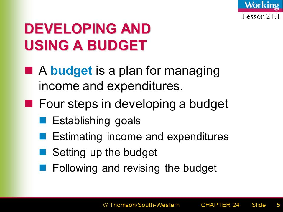 © Thomson/South-WesternSlideCHAPTER 245 DEVELOPING AND USING A BUDGET A budget is a plan for managing income and expenditures.