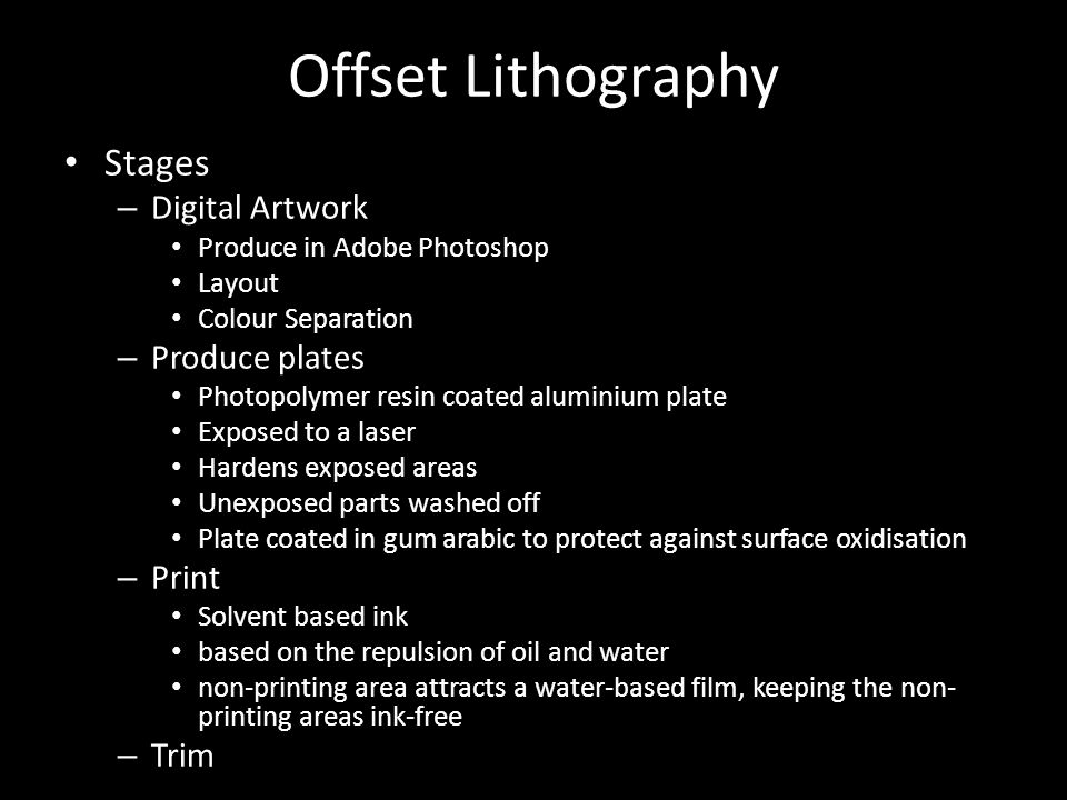 Printing Process AS Graphics  Offset Lithography  - ppt download