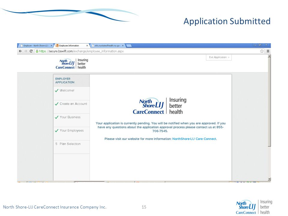 North Shore-LIJ CareConnect Insurance Company Inc. Application Submitted 15