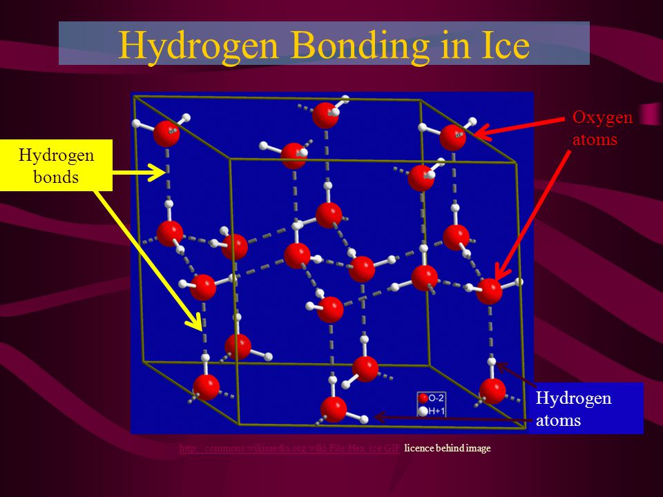 Hydrogen Bonding in Ice   licence behind image Hydrogen bonds Oxygen atoms Hydrogen atoms
