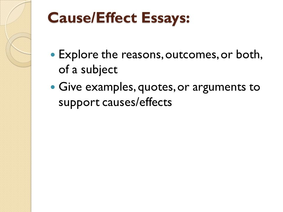Thesis Of An Essay  Causeeffect Essays Explore The Reasons Outcomes Or Both Of A Subject  Give Examples Quotes Or Arguments To Support Causeseffects Computer Science Essays also Spm English Essay Composing Your Causeeffect Essay Goal Of Causeeffect Writing To  Thesis For An Essay