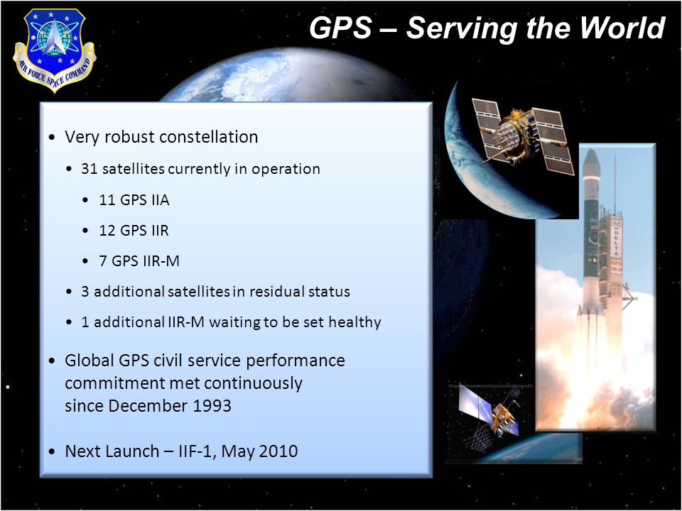 4 Very robust constellation 31 satellites currently in operation 11 GPS IIA 12 GPS IIR 7 GPS IIR-M 3 additional satellites in residual status 1 additional IIR-M waiting to be set healthy Global GPS civil service performance commitment met continuously since December 1993 Next Launch – IIF-1, May 2010 Very robust constellation 31 satellites currently in operation 11 GPS IIA 12 GPS IIR 7 GPS IIR-M 3 additional satellites in residual status 1 additional IIR-M waiting to be set healthy Global GPS civil service performance commitment met continuously since December 1993 Next Launch – IIF-1, May 2010 GPS – Serving the World