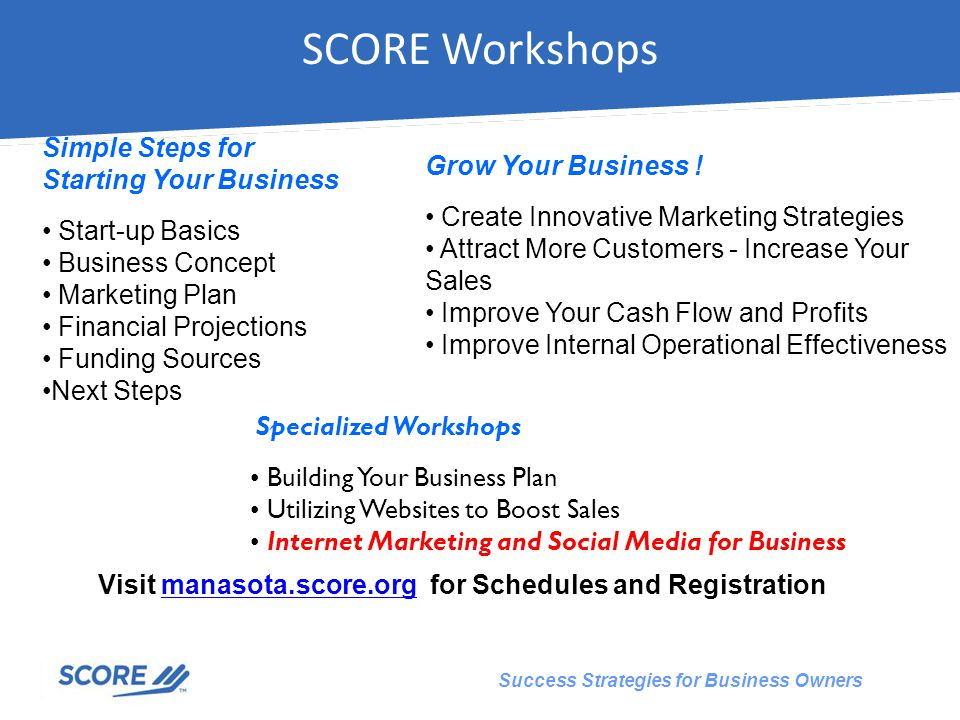 Success Strategies for Business Owners Visit manasota.score.org for Schedules and Registrationmanasota.score.org SCORE Workshops Specialized Workshops Building Your Business Plan Utilizing Websites to Boost Sales Internet Marketing and Social Media for Business Grow Your Business .