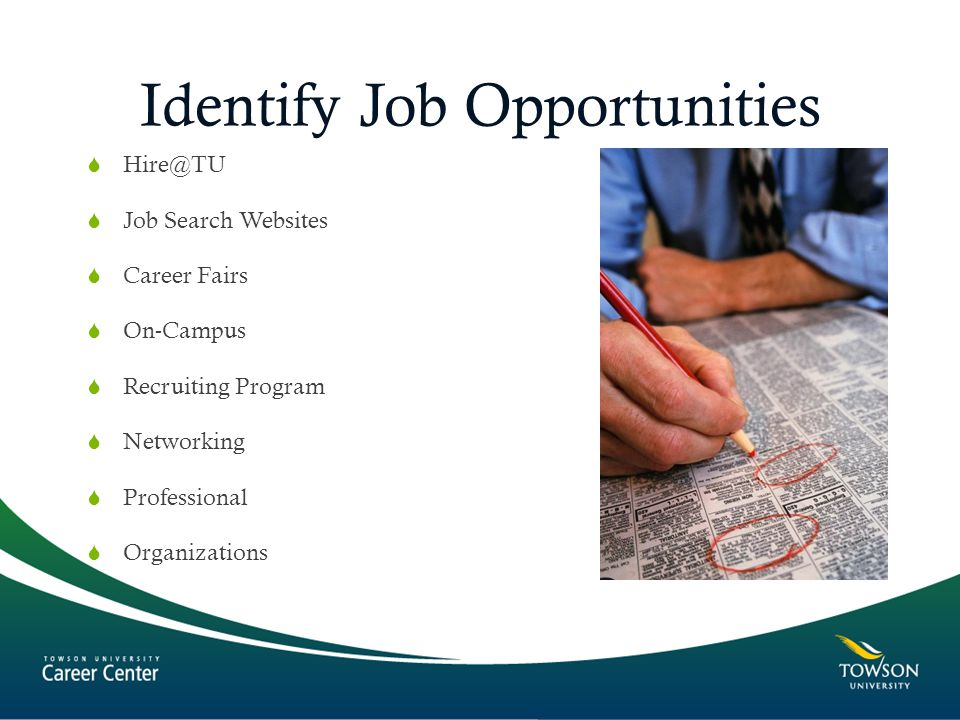 Identify Job Opportunities   Job Search Websites  Career Fairs  On-Campus  Recruiting Program  Networking  Professional  Organizations