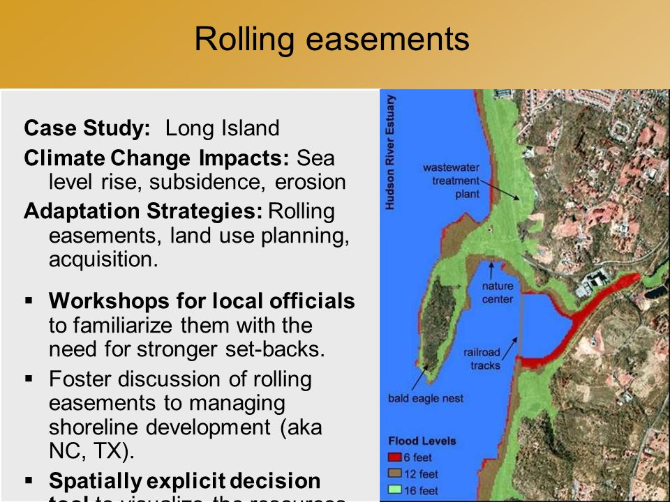 Rolling easements Case Study: Long Island Climate Change Impacts: Sea level rise, subsidence, erosion Adaptation Strategies: Rolling easements, land use planning, acquisition.