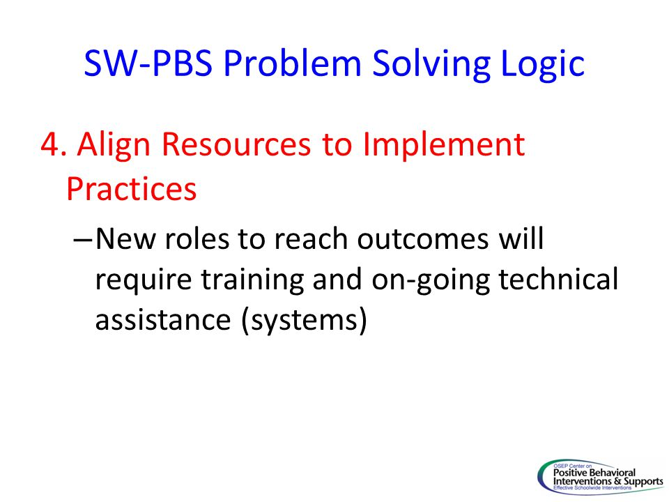 SW-PBS Problem Solving Logic 4.