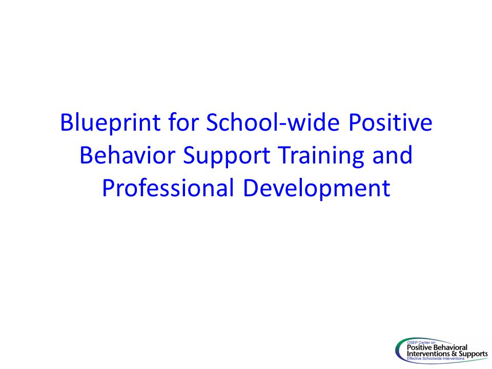 Blueprint for School-wide Positive Behavior Support Training and Professional Development