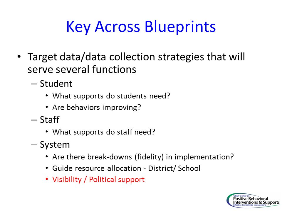 Key Across Blueprints Target data/data collection strategies that will serve several functions – Student What supports do students need.