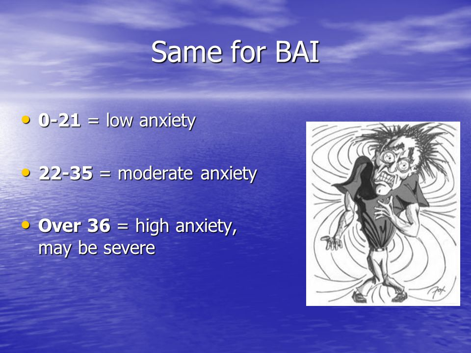 Same for BAI 0-21 = low anxiety 0-21 = low anxiety = moderate anxiety = moderate anxiety Over 36 = high anxiety, may be severe Over 36 = high anxiety, may be severe