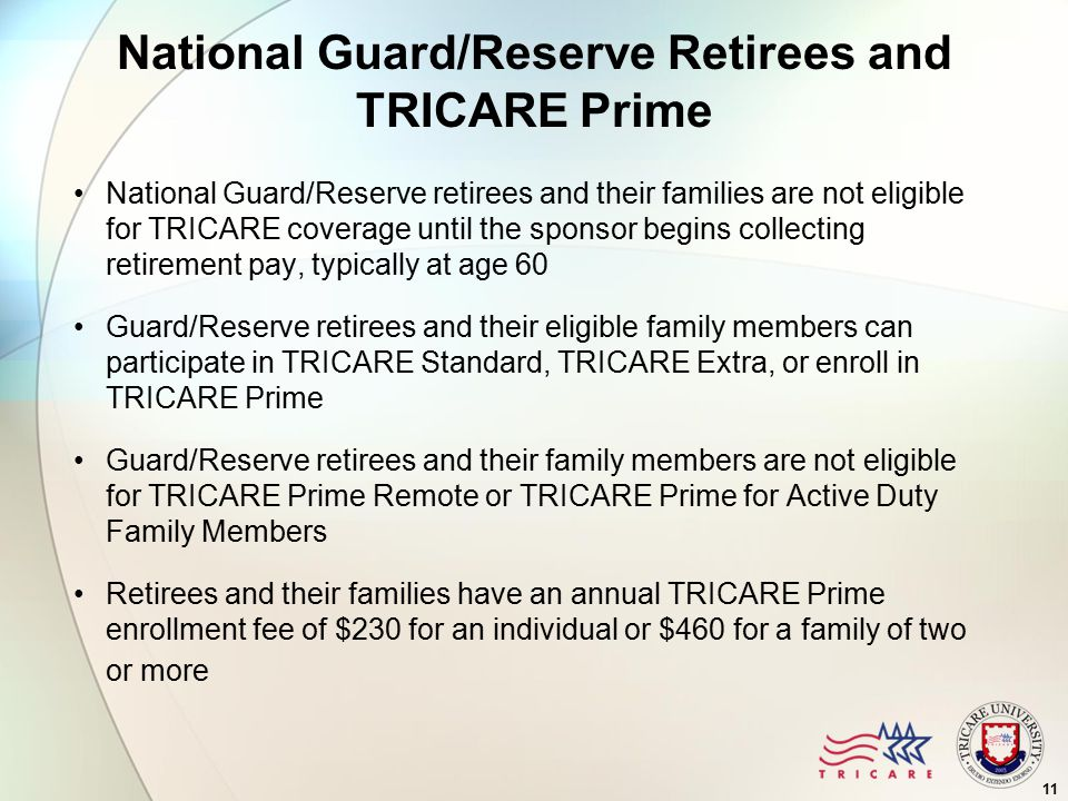 National Guard/Reserve Retirees and TRICARE Prime National Guard/Reserve retirees and their families are not eligible for TRICARE coverage until the sponsor begins collecting retirement pay, typically at age 60 Guard/Reserve retirees and their eligible family members can participate in TRICARE Standard, TRICARE Extra, or enroll in TRICARE Prime Guard/Reserve retirees and their family members are not eligible for TRICARE Prime Remote or TRICARE Prime for Active Duty Family Members Retirees and their families have an annual TRICARE Prime enrollment fee of $230 for an individual or $460 for a family of two or more 11