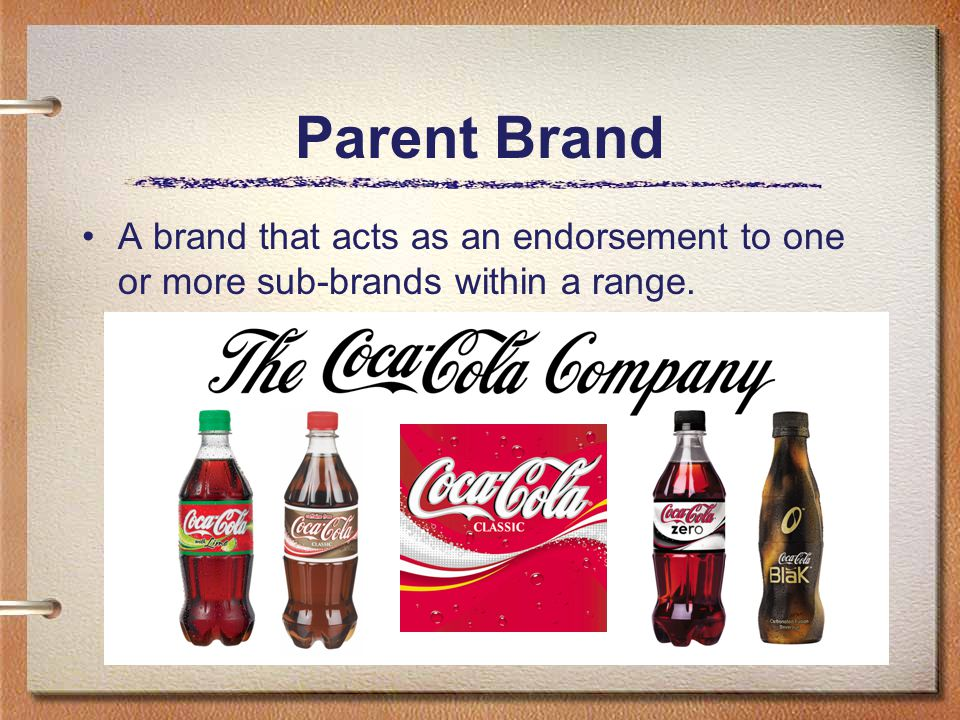 Parent Brand A brand that acts as an endorsement to one or more sub-brands within a range.