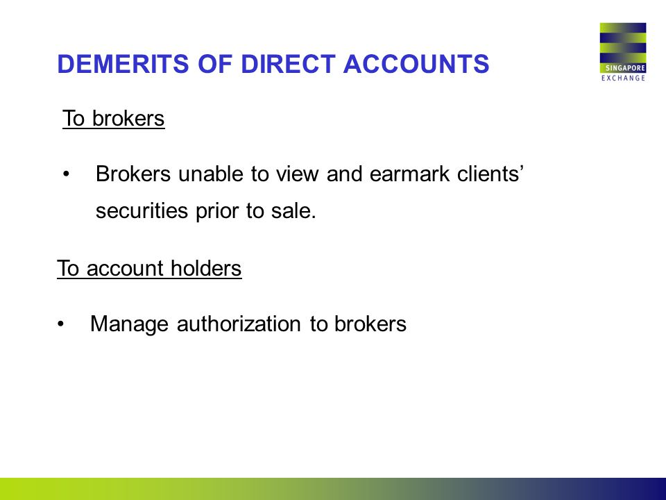 To brokers Brokers unable to view and earmark clients' securities prior to sale.