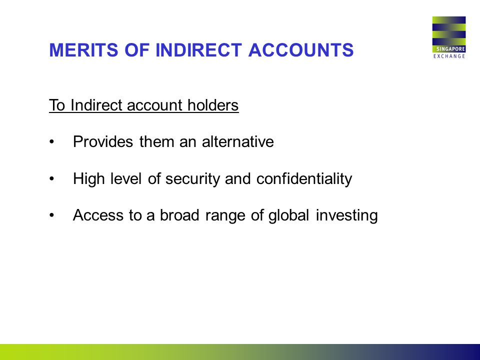 To Indirect account holders Provides them an alternative High level of security and confidentiality Access to a broad range of global investing MERITS OF INDIRECT ACCOUNTS