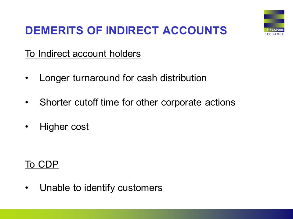 To Indirect account holders Longer turnaround for cash distribution Shorter cutoff time for other corporate actions Higher cost To CDP Unable to identify customers DEMERITS OF INDIRECT ACCOUNTS