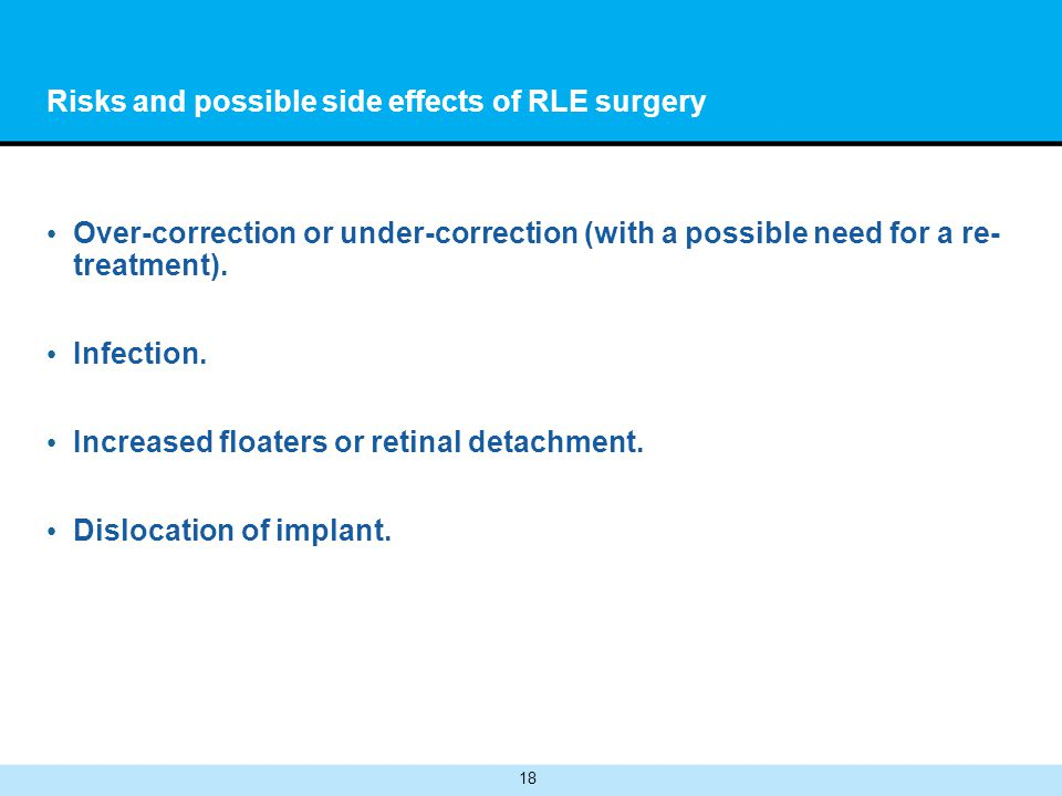 18 Risks and possible side effects of RLE surgery Over-correction or under-correction (with a possible need for a re- treatment).
