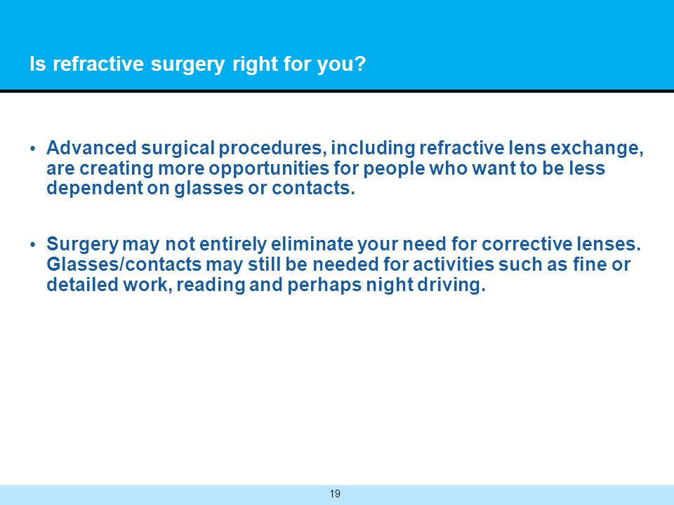 19 Is refractive surgery right for you.