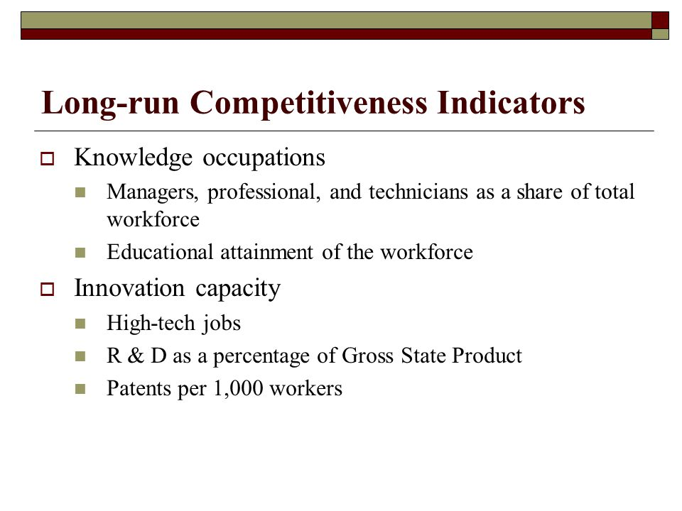 Long-run Competitiveness Indicators  Knowledge occupations Managers, professional, and technicians as a share of total workforce Educational attainment of the workforce  Innovation capacity High-tech jobs R & D as a percentage of Gross State Product Patents per 1,000 workers