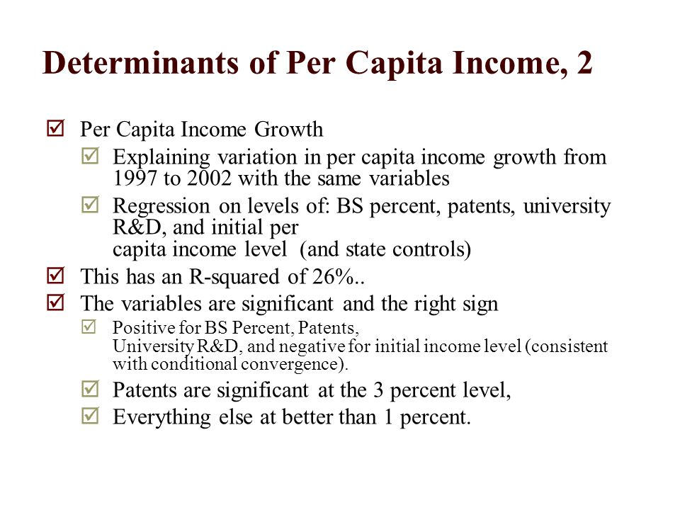 Determinants of Per Capita Income, 2  Per Capita Income Growth  Explaining variation in per capita income growth from 1997 to 2002 with the same variables  Regression on levels of: BS percent, patents, university R&D, and initial per capita income level (and state controls)  This has an R-squared of 26%..