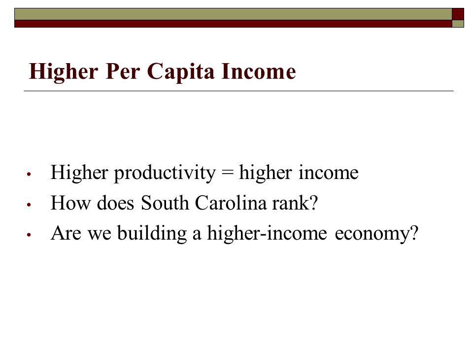 Higher Per Capita Income Higher productivity = higher income How does South Carolina rank.