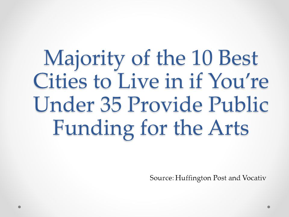 Source: Huffington Post and Vocativ Majority of the 10 Best Cities to Live in if You're Under 35 Provide Public Funding for the Arts