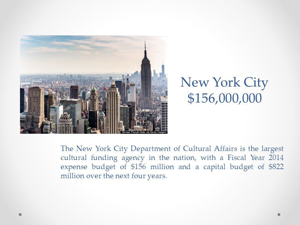 The New York City Department of Cultural Affairs is the largest cultural funding agency in the nation, with a Fiscal Year 2014 expense budget of $156 million and a capital budget of $822 million over the next four years.