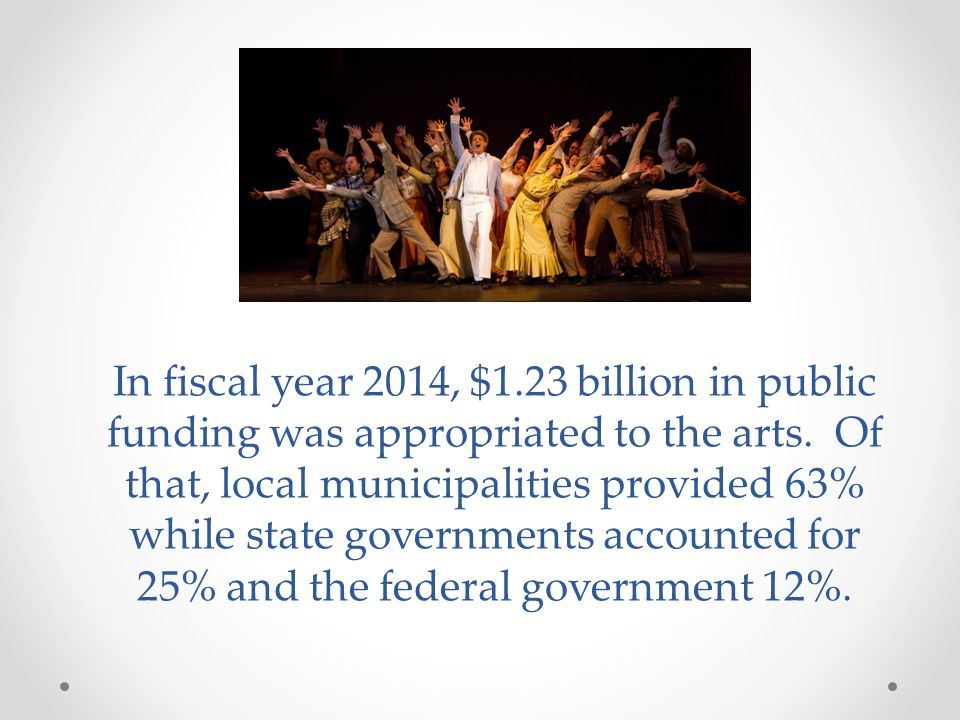 In fiscal year 2014, $1.23 billion in public funding was appropriated to the arts.